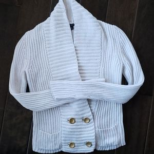 Ann Taylor Chunky Knit Cardigan White Sweater XS